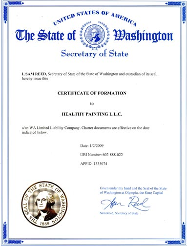 Washington State Certificate of Business Formation